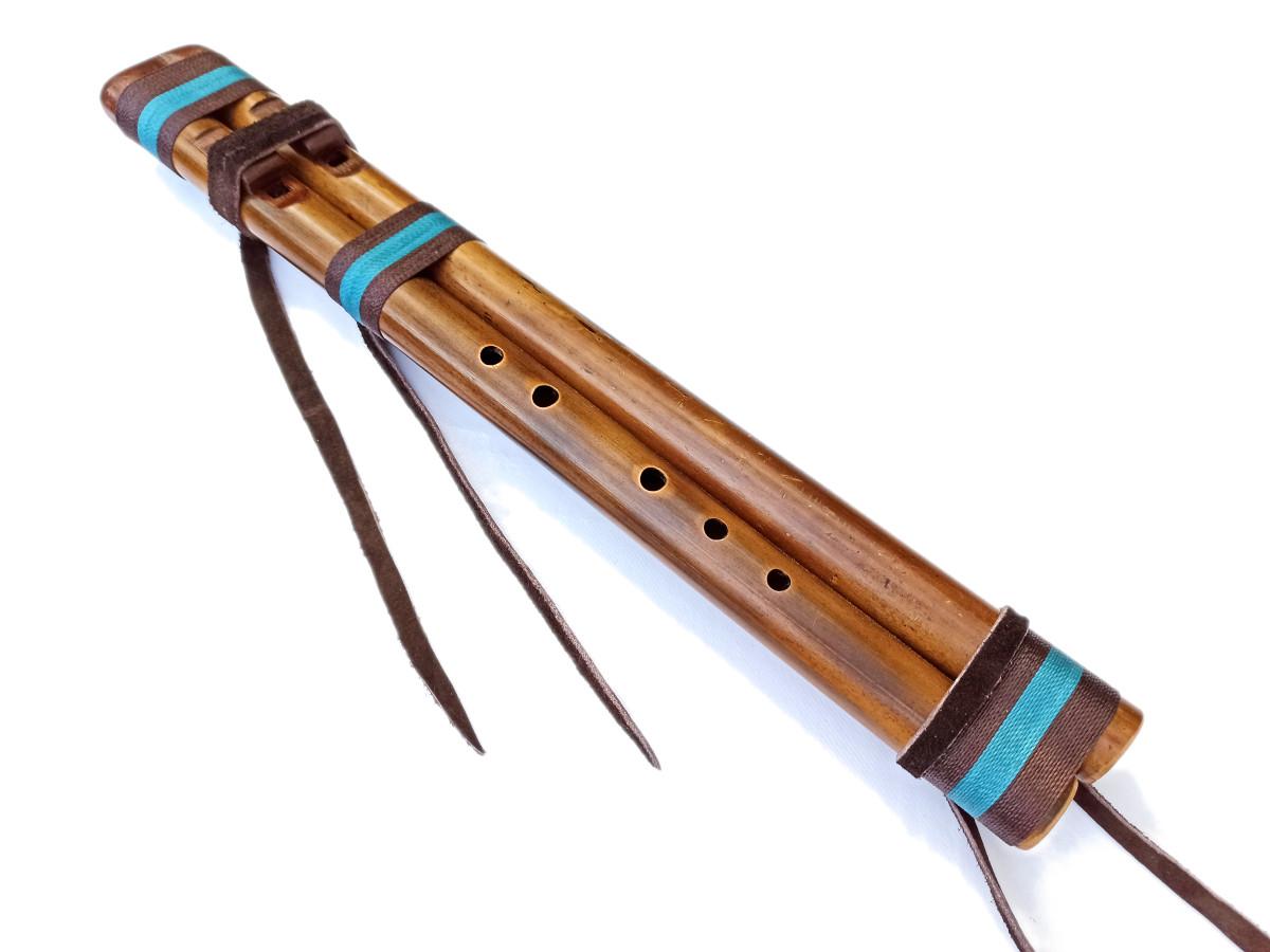 Flauta nativa de Ashar - River Cane Doble - La 4